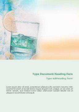 Drink Word Template, Cover Page, 01594, Food & Beverage — PoweredTemplate.com