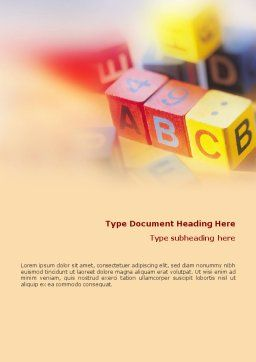 ABC Educational Cubes Word Template, Cover Page, 01600, Education & Training — PoweredTemplate.com
