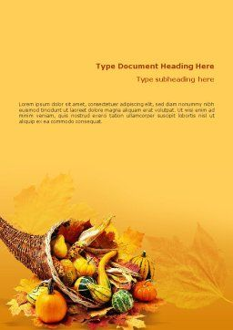 Thanksgiving Word Template, Cover Page, 01615, Holiday/Special Occasion — PoweredTemplate.com