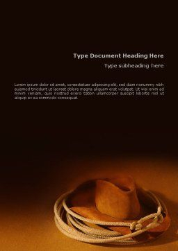 Cowboy Hat Word Template, Cover Page, 01616, America — PoweredTemplate.com