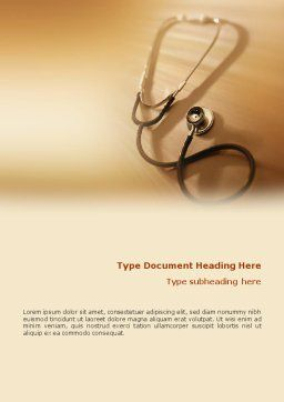 Phonendoscope In A Brown Color Word Template, Cover Page, 01623, Medical — PoweredTemplate.com