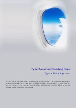 Airplane Word Template, Cover Page, 01635, Cars/Transportation — PoweredTemplate.com
