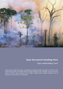 Forest Fire Word Template, Cover Page, 01636, Nature & Environment — PoweredTemplate.com