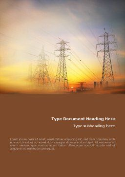 Power Line Word Template, Cover Page, 01638, Utilities/Industrial — PoweredTemplate.com