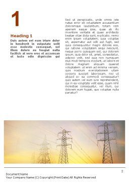 Power Line Word Template, First Inner Page, 01638, Utilities/Industrial — PoweredTemplate.com