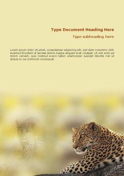 Leopard Word Template, Cover Page, 01640, Agriculture and Animals — PoweredTemplate.com