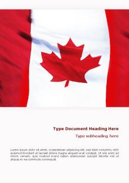 Canadian Flag Word Template, Cover Page, 01654, Flags/International — PoweredTemplate.com
