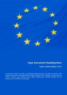 European Union Flag Word Template, Cover Page, 01657, Flags/International — PoweredTemplate.com