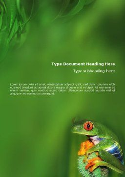 Frog Word Template, Cover Page, 01658, Agriculture and Animals — PoweredTemplate.com
