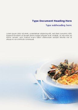 Sea Food Word Template, Cover Page, 01661, Food & Beverage — PoweredTemplate.com