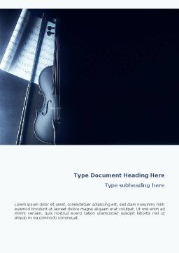 Violin In Dark Blue Word Template, Cover Page, 01665, Art & Entertainment — PoweredTemplate.com