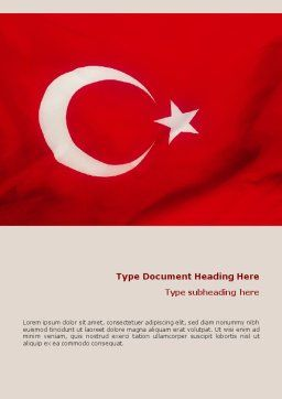 Turkish Flag Word Template, Cover Page, 01671, Flags/International — PoweredTemplate.com