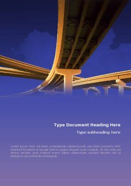 Road Interchange Word Template, Cover Page, 01673, Construction — PoweredTemplate.com