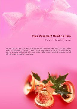 Christmas Bells On A Pink Background Word Template, Cover Page, 01679, Holiday/Special Occasion — PoweredTemplate.com