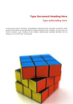 Rubik's Cube Word Template, Cover Page, 01683, 3D — PoweredTemplate.com