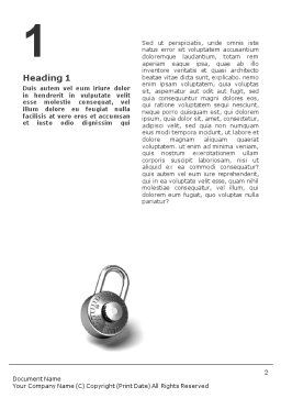 Numbered Locks Word Template, First Inner Page, 01684, 3D — PoweredTemplate.com