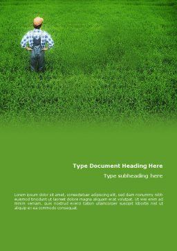 Farmer On The Green Field Word Template Cover Page