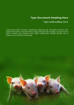 Pig Word Template, Cover Page, 01708, Agriculture and Animals — PoweredTemplate.com