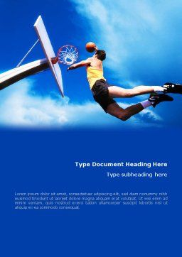 Flying Basketballer Word Template, Cover Page, 01713, Sports — PoweredTemplate.com
