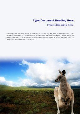 Kangaroo Word Template, Cover Page, 01717, Nature & Environment — PoweredTemplate.com