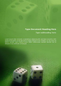 Dice On A Green Cloth Word Template Cover Page