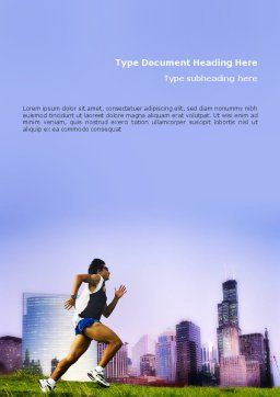 City Jogging Word Template, Cover Page, 01740, Sports — PoweredTemplate.com