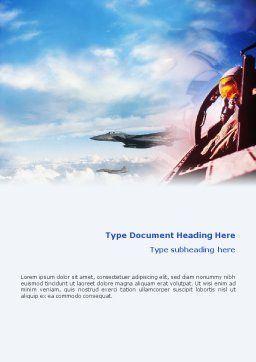 Fighter Aircraft Word Template, Cover Page, 01747, Military — PoweredTemplate.com