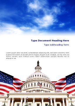 United States Capitol Building Word Template, Cover Page, 01766, Flags/International — PoweredTemplate.com