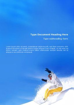 Snowboarding In Deep Snow Word Template, Cover Page, 01771, Sports — PoweredTemplate.com