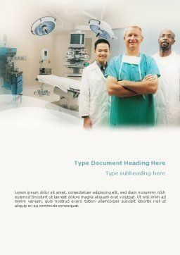 Medical Staff In The Operating Room Word Template, Cover Page, 01772, Medical — PoweredTemplate.com