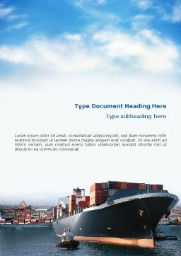 Sea Shipping Word Template, Cover Page, 01782, Cars/Transportation — PoweredTemplate.com
