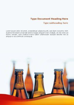 Bottles of Beer Word Template, Cover Page, 01793, Food & Beverage — PoweredTemplate.com