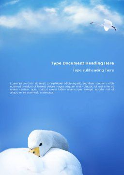 Swan Word Template, Cover Page, 01797, Agriculture and Animals — PoweredTemplate.com
