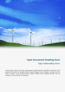 Wind Energy Word Template, Cover Page, 01801, Technology, Science & Computers — PoweredTemplate.com