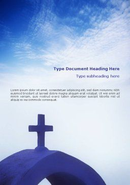 Blue Cross Word Template, Cover Page, 01804, Religious/Spiritual — PoweredTemplate.com
