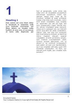 Blue Cross Word Template, First Inner Page, 01804, Religious/Spiritual — PoweredTemplate.com