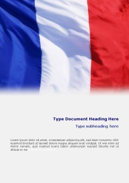 French Flag Word Template, Cover Page, 01805, Flags/International — PoweredTemplate.com