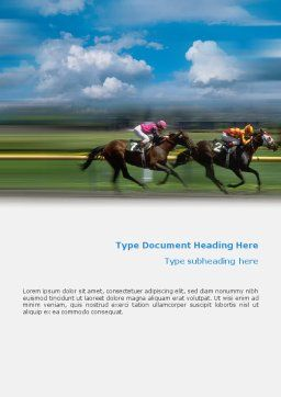 Horse Races Word Template, Cover Page, 01813, Sports — PoweredTemplate.com
