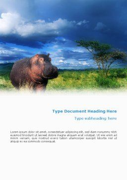 Hippopotamus Word Template, Cover Page, 01826, Agriculture and Animals — PoweredTemplate.com