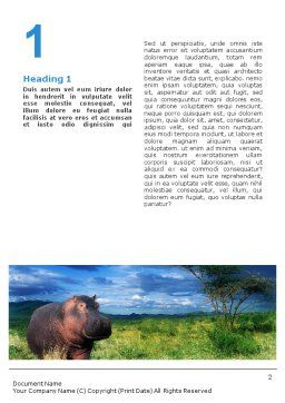 Hippopotamus Word Template, First Inner Page, 01826, Agriculture and Animals — PoweredTemplate.com