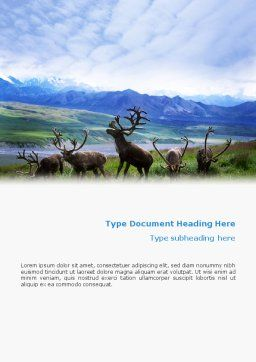 Deers On The Mountain Pastures Word Template Cover Page