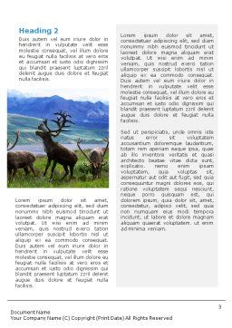 Deers On The Mountain Pastures Word Template Second Inner Page