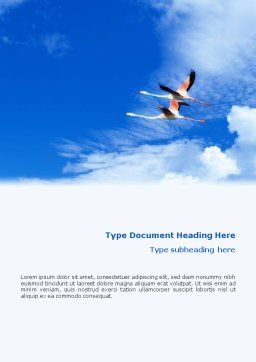 Flying Flamingo Word Template, Cover Page, 01854, Nature & Environment — PoweredTemplate.com