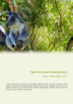 Koala Word Template, Cover Page, 01867, Agriculture and Animals — PoweredTemplate.com