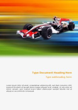 Formula One Word Template, Cover Page, 01874, Sports — PoweredTemplate.com