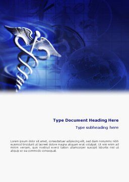 Caduceus In Deep Blue Colors Word Template, Cover Page, 01881, Medical — PoweredTemplate.com