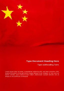 Chinese Flag Word Template, Cover Page, 01887, Flags/International — PoweredTemplate.com