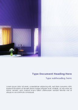Interior In Violet Word Template, Cover Page, 01896, Consulting — PoweredTemplate.com