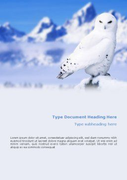 Snowy Owl Word Template Cover Page