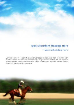 Cowboy Riding Word Template, Cover Page, 01911, Sports — PoweredTemplate.com